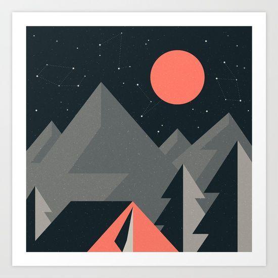 Retro #Camping - Flat Illustration, Night Camping #ART PRINT