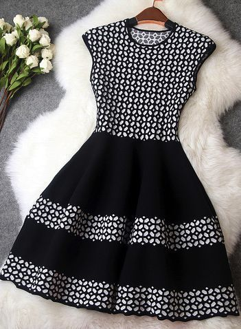 This is a great choice for weddings or cocktail parties. It is black and white and it has geometric print. Keep it simple chic with white pointy pumps and a black long blazer. Mix and match with a leather jacket… Continue Reading →