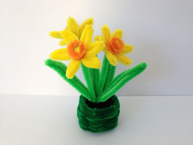 Quick Pipe Cleaner Daffodil DIY tutorial, #12, kids crafts, (モールアート)