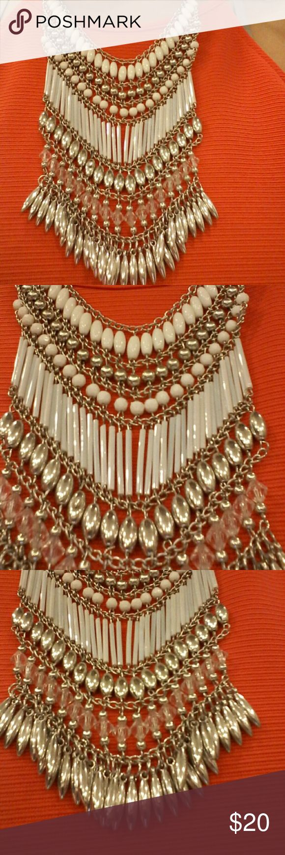 Statement necklace NWOT. never worn except for photo.  Tag: Boho statement choker necklace. Follow game party game. J. Crew free people loft Kate spade Michael kors guess forever21 Charlotte russe silver crystals stones cubic zirconia diamonds Jewelry Necklaces