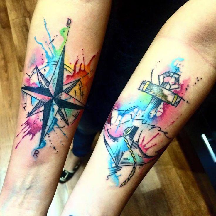 Tatuagem Feminina no Braço | Âncora em Aquarela