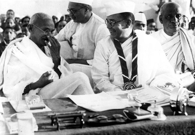 Mahatma Gandhi, Subhas Chandra Bose and Sardar Vallabhbhai Patel at the 51st session of the Indian National Congress.