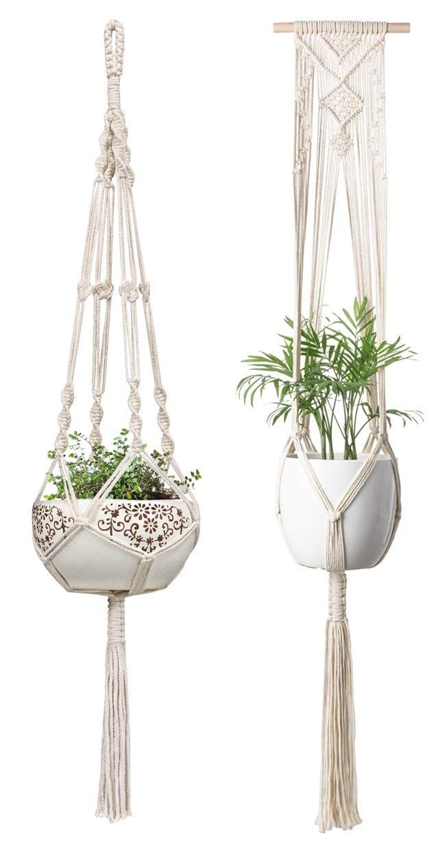 Mkono Macrame Plant Hanger Hanging Planter Wall Art Boho Home Decor 41 Inches And 46 Inches Set Of 2 Plant Hanger Macrame Plant Hangers Macrame Plant Hanger