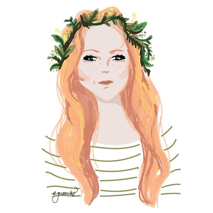 Flower girl. Digital painting.
