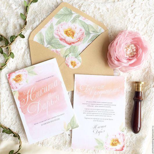 Свадебные аксессуары ручной работы. Ярмарка Мастеров - ручная работа. Купить Свадебные акварельные цветочные приглашения Персиковая нежность. Handmade.
