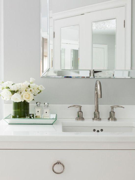 Susan Glick Interiors - bathrooms - beveled mirror, bathroom beveled mirror, beveled bathroom mirror, white washstand, ring pulls, satin nic...