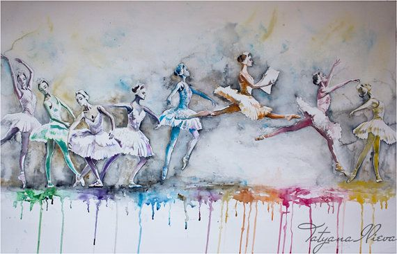 """Watercolor Print - """"Beautiful day"""". Digital art print best gift for wall decor, wall art, home decor and home art. Ballet, Portrait."""