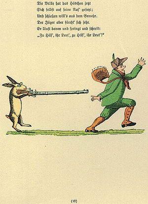 """Struwwelpeter: Die Geschichte vom wildem Jäger.  Lieblingsvers: """"das Häschen sitzt im Blätterhaus / Und lacht den wilden Jäger aus (...)"""""""