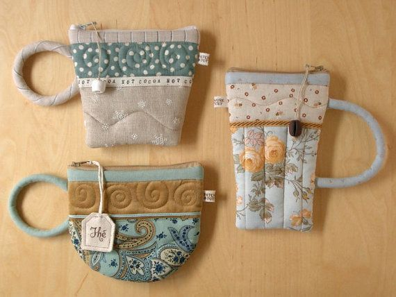 Teacup Coffeemug Amp Hotcocoa Pouches Quilted Patchwork