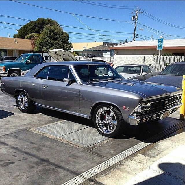 #BecauseSS Muscle Cars USA 66 chevelle grey chrome wheels
