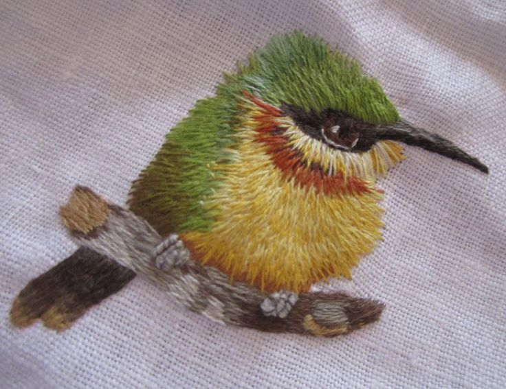 """Needle painted Bee-eater.  Design from """"Needle Painting Embroidery, Fresh Ideas For Beginners"""". by Trish Burr."""