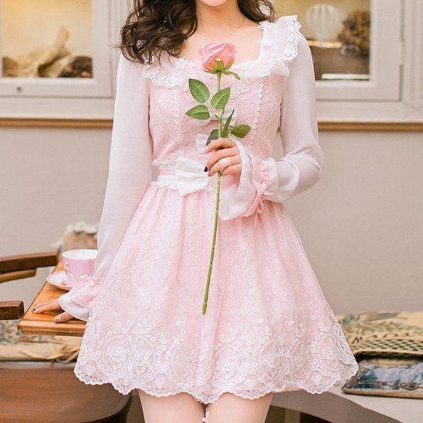 Pink Lolita Bowknot Lace Princess Dress SP178940