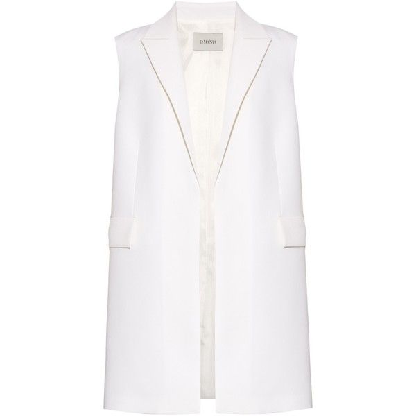La Mania Sasso tailored gilet ($777) ❤ liked on Polyvore featuring outerwear, vests, la mania, white, white waistcoat, pocket vest y white vest