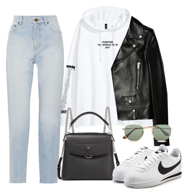 Sin título #3692 by camilae97 on Polyvore featuring polyvore, fashion, style, Yves Saint Laurent, NIKE, Fendi, Ray-Ban and clothing