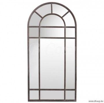 """J-Line Antieke bruine stalen spiegel romaanse boog venster antiek bruin metaal 75x150 <span style=""""font-size: 0.01pt;"""">Jline-by-Jolipa-51221-antieke-stijl-decoratie-online-bestellen-online</span>"""