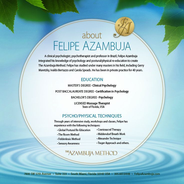 FELIPE AZAMBUJA'S BIO – For more information, visit my website at www.felipeazambuj... or follow me on Instgram at instagram.com/.... or visit me on Facebook at www.facebook.com/.... The Azambuja Method incorporates the research and practical work of the Postural ReEducation Movement.