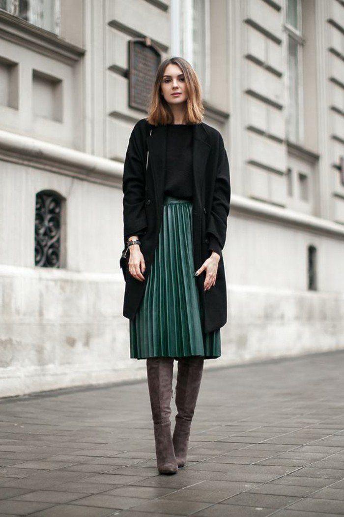 9610c38a146d6 Comment porter la jupe longue plissée  80 idées! - Archzine.fr