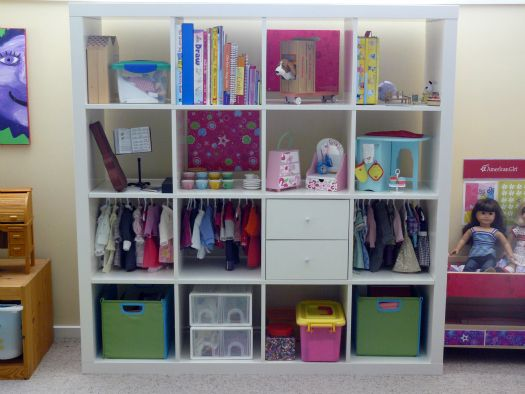 Doll and Barbie storage for doll clothes, shoes and accessories. Ikea Expedit with drawers and canvas bins