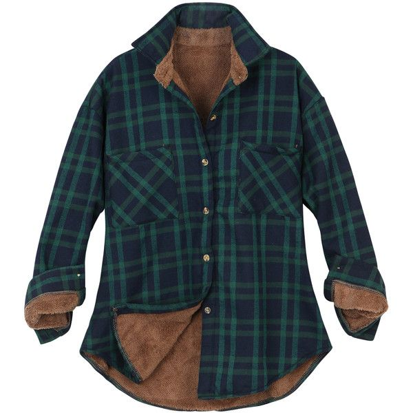 ililily Women Plaid Buffalo Checkered Sherpa Lined Flannel Shirt... ($14) ❤ liked on Polyvore featuring outerwear, jackets, blue plaid jacket, blue flannel jacket, tartan jacket, trucker jacket and flannel jacket