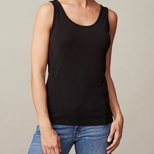 ANASTASIA plain tank top, black. The top you're going to love because of its softness. To be worn again and again, both at work and at a party.Made of modal which is coloured by the eco-tex 100 standards.