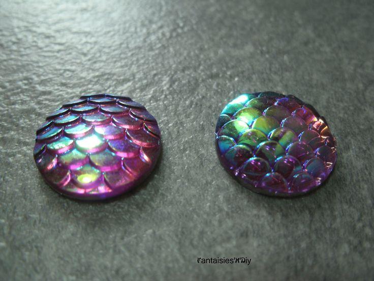 (CABR19) Lot de 4 jolis cabochon résine écaille de sirène / écaille de dragon / reptile 16mm : Cabochons, demi-perles par fantaisies-n-diy