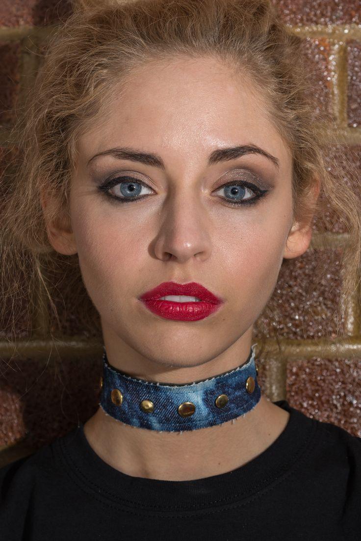 """SKY BLUE"" Choker, available online now!  #noknoklondon #denim #jeans #fashion #womensfashion #choker #jewellery #necklace #studded."