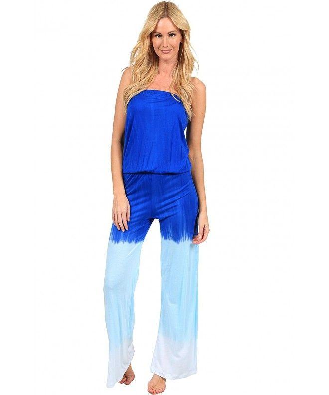 b4681023151b Summer Jumper Long Tie Dye Strapless Beach Romper Playsuit Jumpsuit - Blue  - C012DSGD8E9