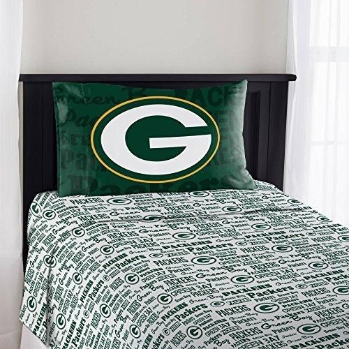 Nfl Packers Anthem Sheet Twin Set Football Themed Bedding Sports Patterned Team Logo Fan Merchandise Athletic Team Spirit Fan Bay Green Cheese Gold White Polyester