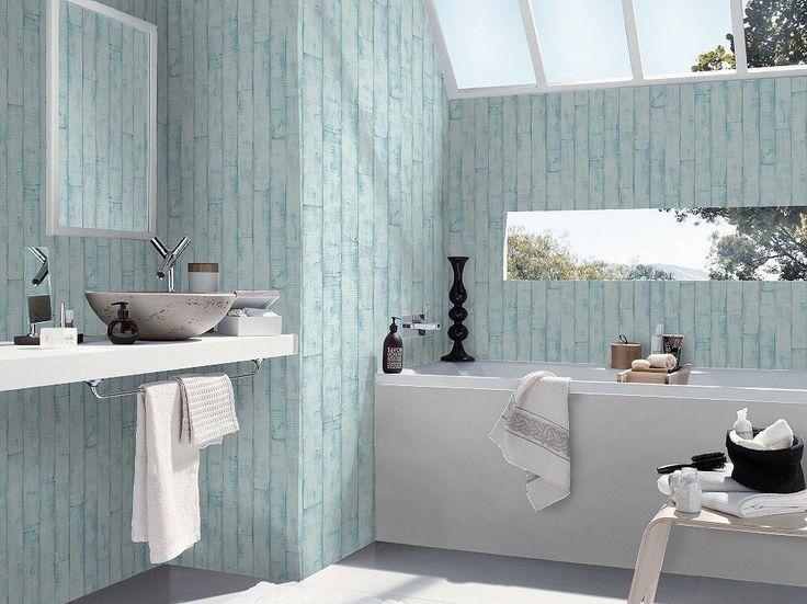 Schöner Wohnen Tapete Concrete : Rasch Aqua Blue Distressed Wood ...