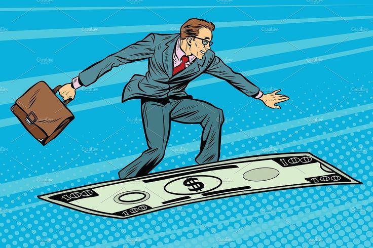 Businessman on flying money carpet plane carpetplane