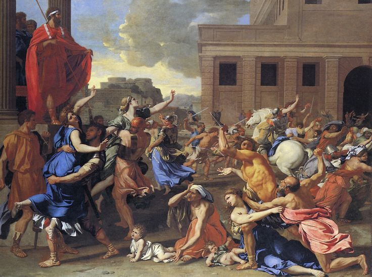 juxtaposition of calm and chaos  The Abduction of the Sabine Women  [Nicolas Poussin]