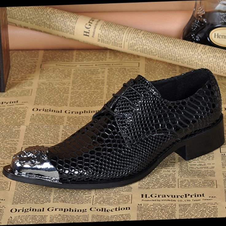 ==> [Free Shipping] Buy Best Fashion Genuine Leather Italian Men Shoes Snake Pattern Pointed Toe Oxfords Shoes For Men Wedding Business Dress Shoes Men Flats Online with LOWEST Price | 32712938873