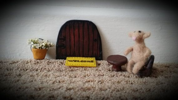 Needle felted wool mouse toy, children's imaginary world, set of a chair and table and a bucket, handmade rustic clay garden furniture