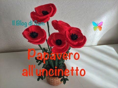 Как вязать мак Урок20 How to crochet poppy Cómo amapola crochet - YouTube