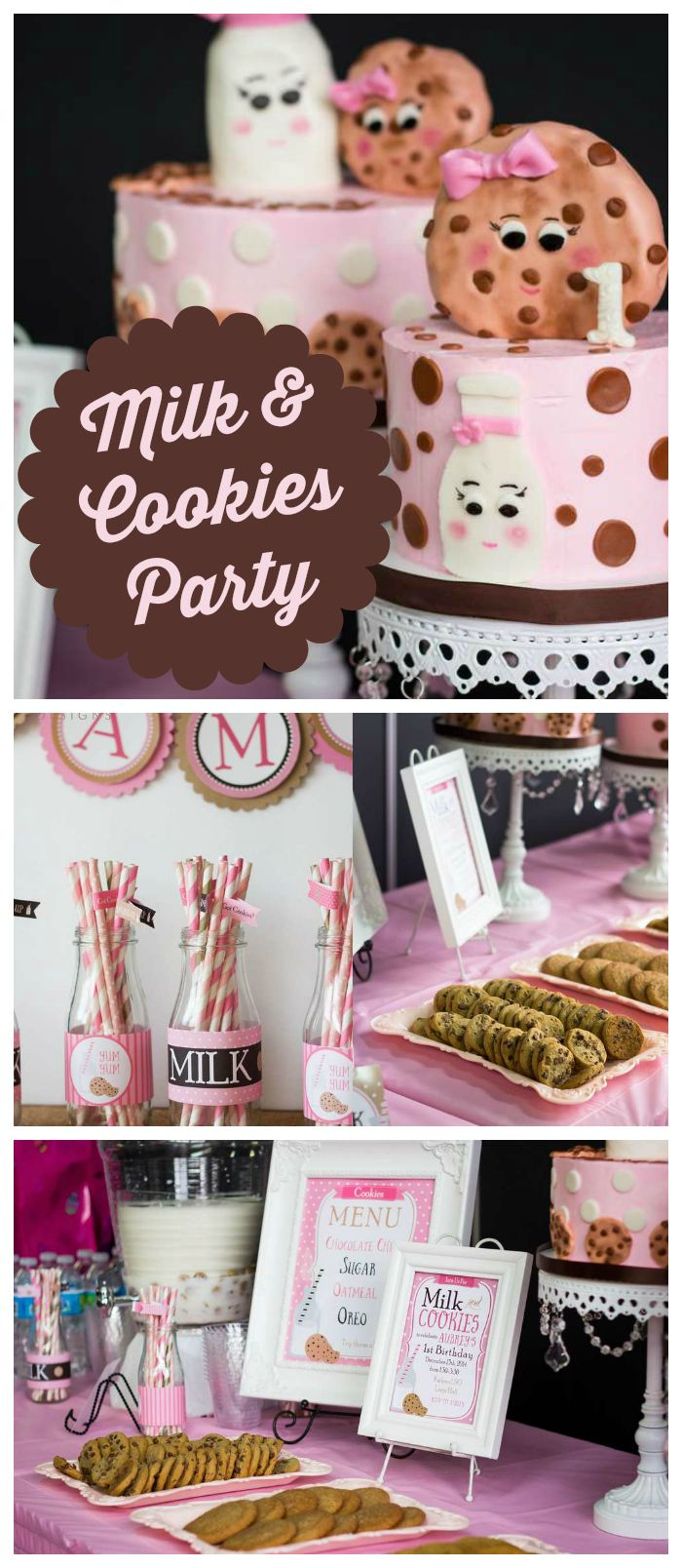 A pink and brown milk and cookies themed girl birthday party with a cookie  bar and