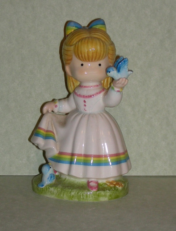 Joan Walsh Anglund  Rainbow Girl  figurine 1981 by zodwollopp, $16.99Joan Walsh, Anglund Rainbows, Anglund Walsh, Walsh Anglund, Walsh Products, Artists Joan Anglund, Anglund Q Tness, Anglund Figurines, Favorite Joan