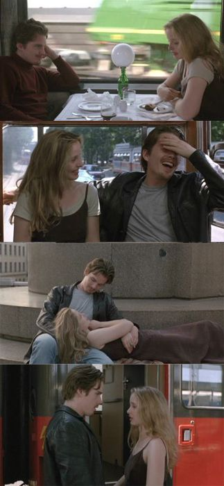 Ethan Hawke and Julie Delphy as Jesse and Celine  in Richard Linklater's 'Before Sunrise'