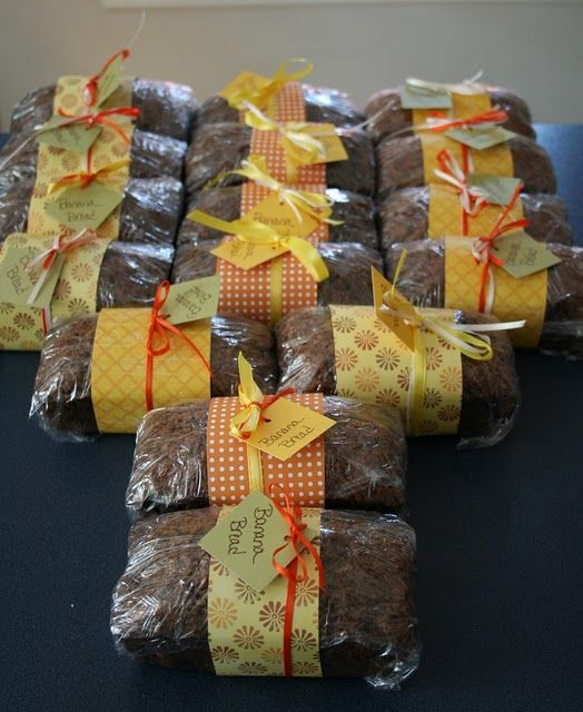 cute idea to do a band of patterned paper tied with ribbon/tag...@Anjali Khurana Khurana Rajani Gosalia wouldn't this be a great idea for Mom's persimmon bread?