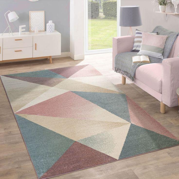 Teppich Kurzflor Geometrisches Muster Pastell Teppich Design