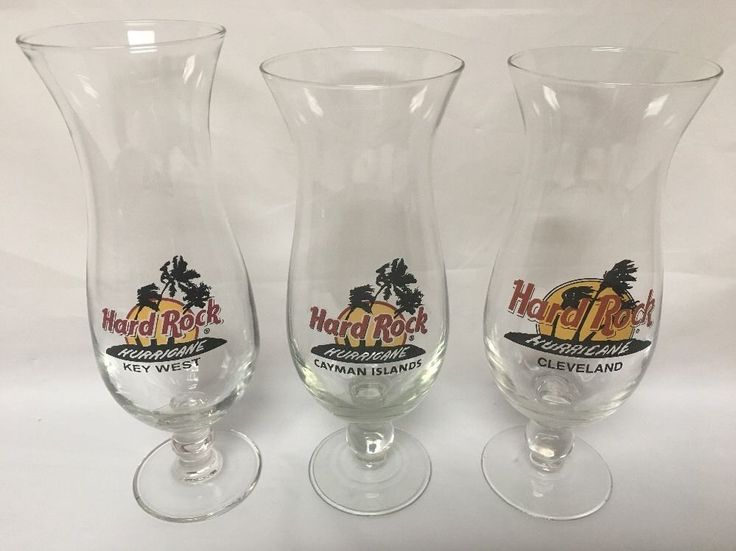 Hard Rock Cafe Hurricane Glasses Cleveland Ohio Cayman Islands Key West 20 Oz  | eBay