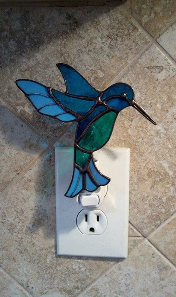 Hummingbird and Flower Stained Glass Night Light