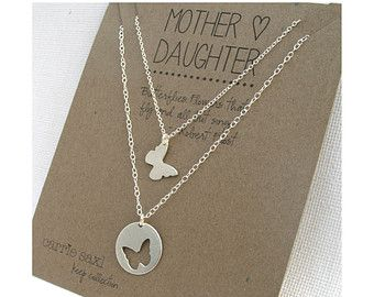Mother Daughter Necklace Set - butterflies - sterling silver - mother jewelry - mom necklace - mother's day git - mom jewelry - mommy gift