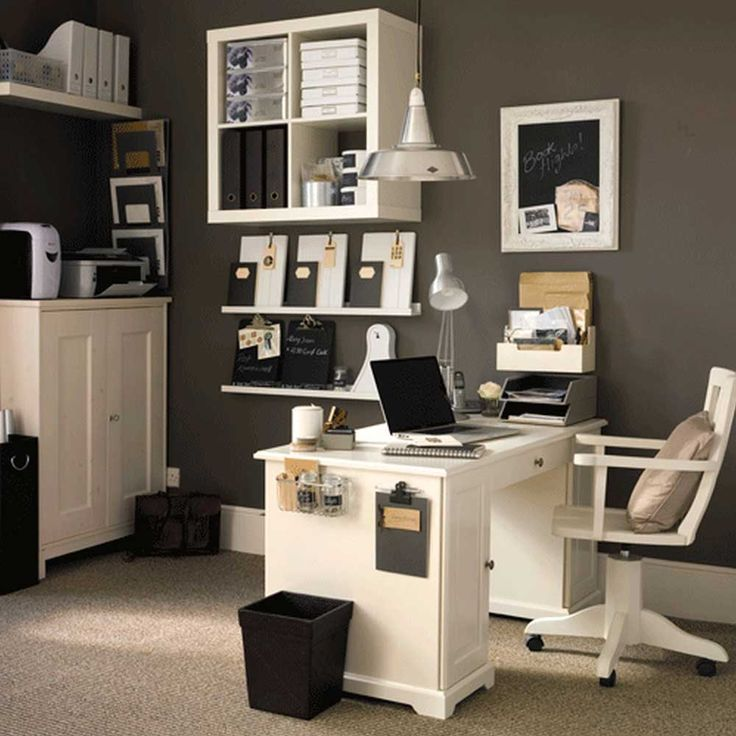 Modern Home Office Furniture House Interior Designs with white desk and chair with grey wall color