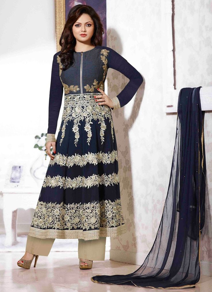 Sensational Drashti Dhami Navy Blue Georgette Designer Anarkali Suit