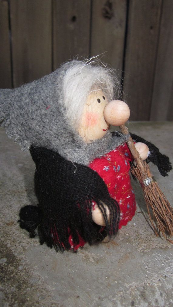 Wood and Wool Kitchen Witch or Befana/Christmas Witch on Etsy, Sold