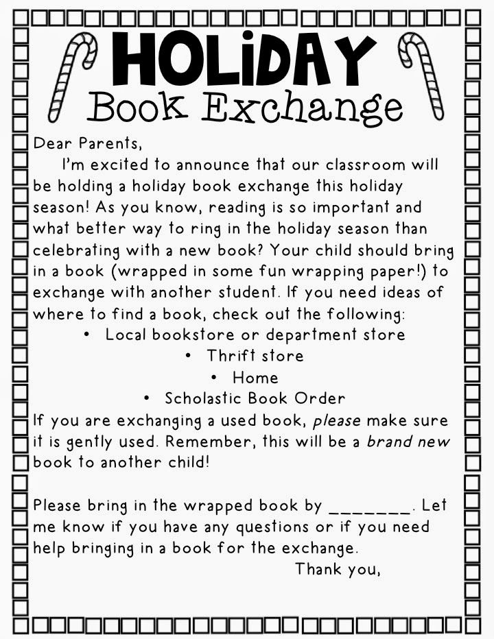 Holiday Book Exchange Letter. Don't know if we could do this but would be nice.
