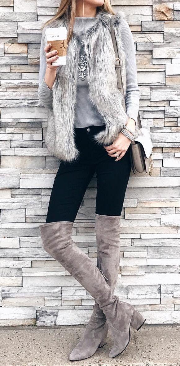 #winter #fashion /  Faux Fur Vest + Grey Knit