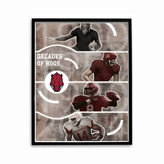 Arkansas Razorbacks Decades of Hogs 24x18 Football Poster