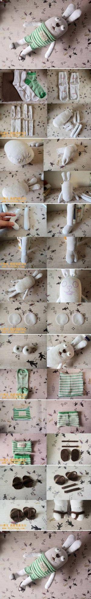 DIY Old Sock Cute Bunny Doll DIY Old Sock Cute Bunny Doll by diyforever
