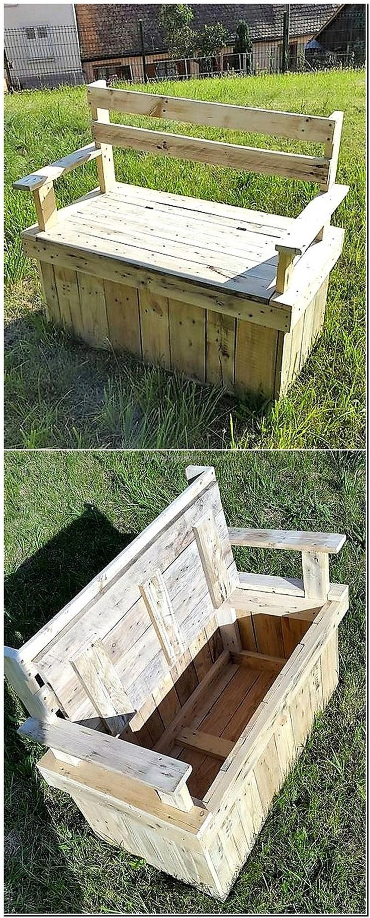 pallet garden bench with storage